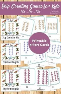 Skip Counting Games for Kids {10s, 11s, 12s Printable 3-Part Cards}