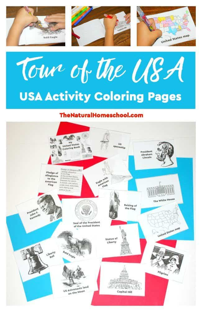 We love the USA! Yea! And to continue on our fun USA studies, we made some fun printable US Activity Coloring Pages!