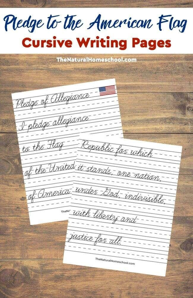 In this post, we share a printable set of the American flag with the pledge of allegiance in cursive. This is part of our Tour of the USA series!