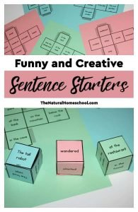 Creative Sentence Starters – Printable Dice