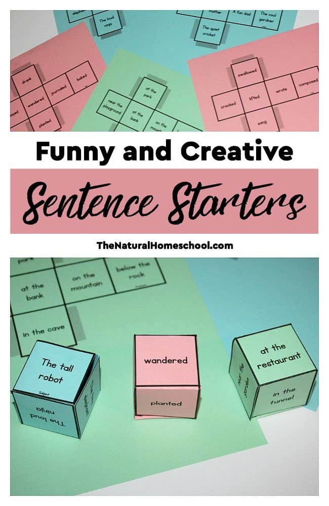 In this post, we have an educational game with funny and creative sentence starters. It has a set of six printable dice to help kids get their creative juices flowing when it comes to writing sentences, paragraphs and stories.