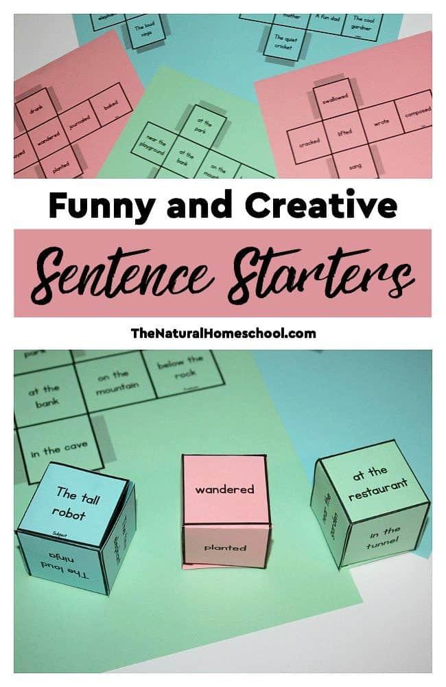 Creative Sentence Starters - Printable Dice - The Natural Homeschool