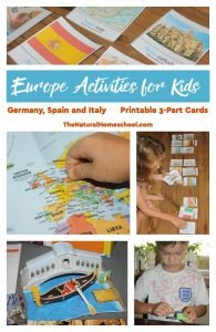 Europe Activities for Kids – Germany, Spain and Italy Printable 3-Part Cards
