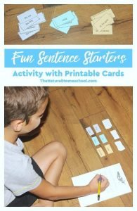 Fun Sentence Starters Activity with Printable Cards