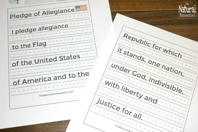 In this post, we share a printable set of the American flag with the pledge of allegiance. This is part of our Tour of the USA series! We hope you enjoy this set of Printable Manuscript Pledge of Allegiance Pages.