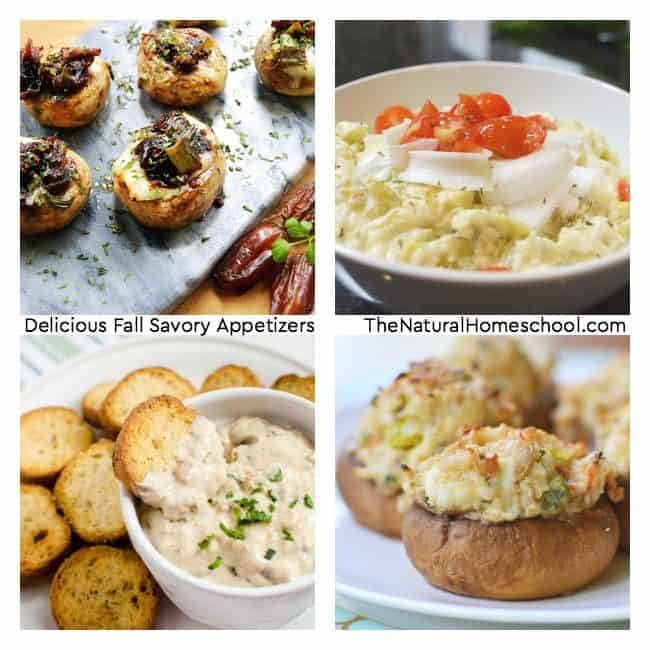 Come and celebrate the beautiful and cooler season of Fall with this awesome list of delicious Fall savory appetizers to make for Autumn parties, get togethers, to have at home or take to homeschool co-op!