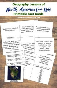Geography Lessons of North America for Kids – Printable Fact Cards
