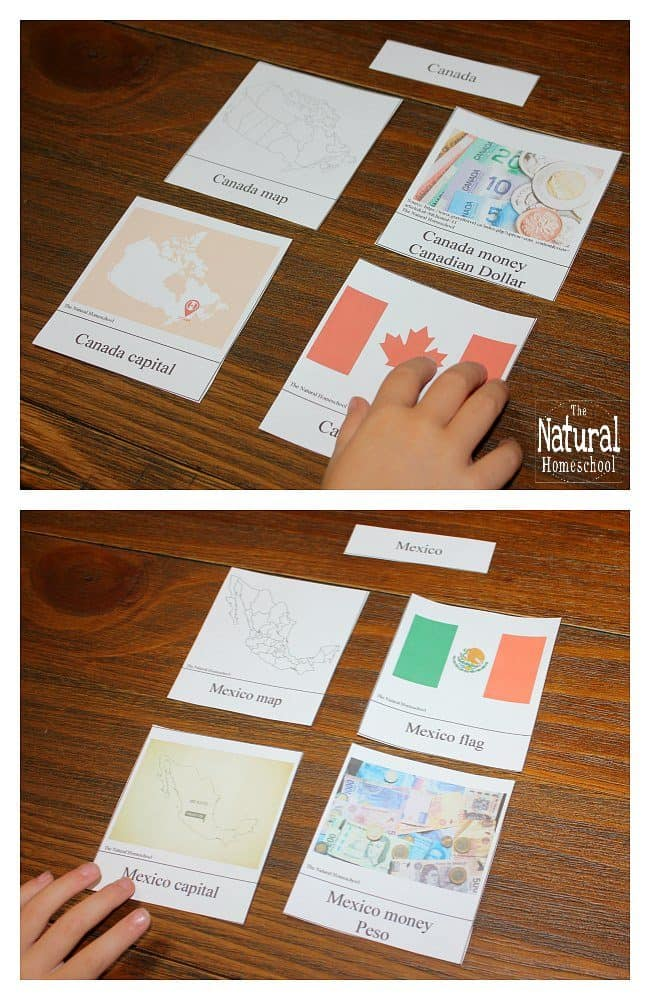North America for Kids  Printable Geography 3Part Cards  The