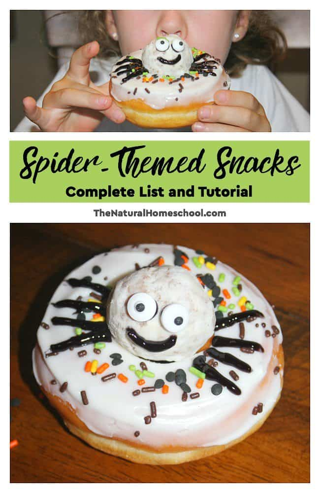 In this post, we share a list of spider themed snacks and we also show you one of the snacks we made. These ideas can be used anytime or they can be made into Halloween spider snacks as well.