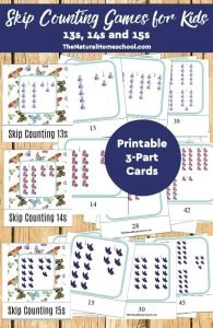 Skip Counting Games for Kids {13s, 14s, 15s Printable 3-Part Cards}