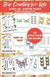 Butterfly Skip Counting Games for Kids 15 3-Part Cards Set Bundle {1s thru the 15s}