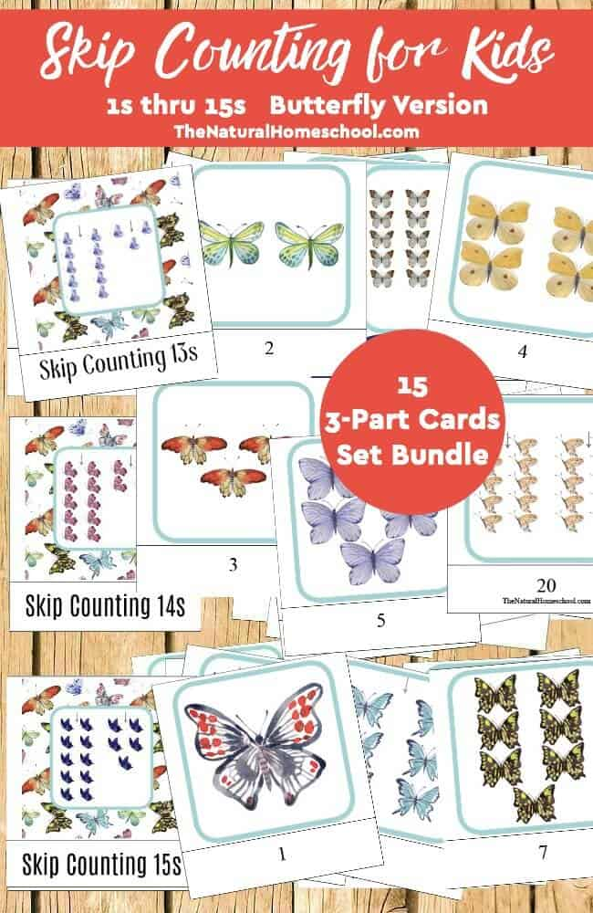 Butterfly Skip Counting Games for Kids 15 3-Part Cards Set Bundle ...