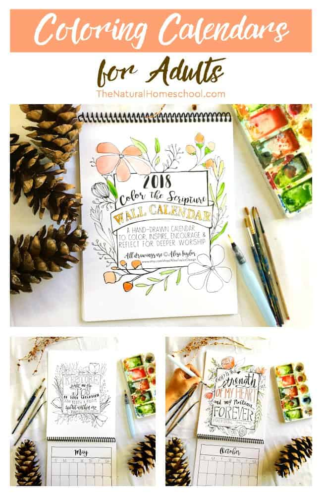 Coloring Calendars for Adults {2018 Calendar Giveaway} - The Natural ...