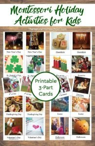 Montessori Holiday Activities for Kids ~ Printable 3-Part Cards
