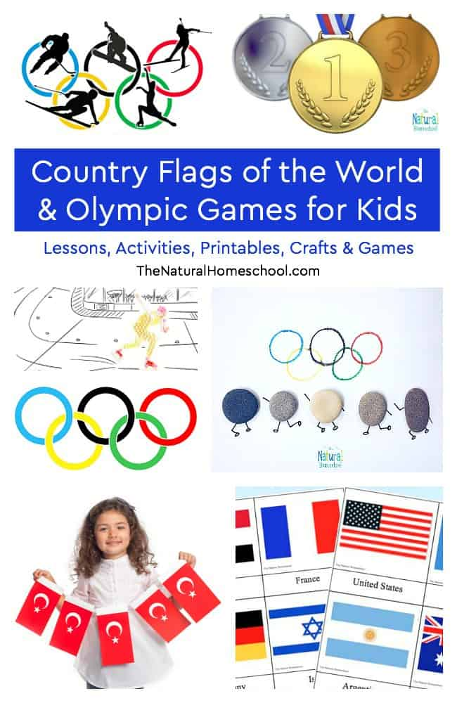 We have tied our Geography lessons in with the upcoming Winter Olympics! In this post, we will share a wonderful list of olympic games for kids including country flags of the world printables, crafts, activities and ideas.