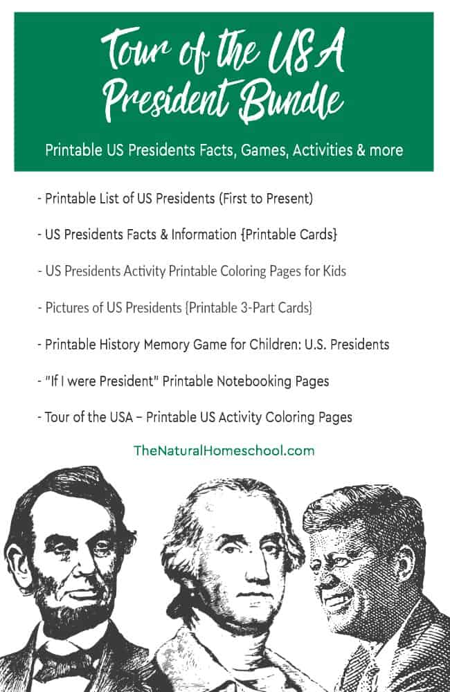 Here is a great adventure! Take a Tour of the USA! It is a wonderful printable Presidents bundle with 7 amazing activities!