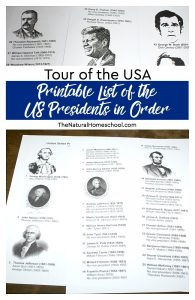 Tour of the USA ~ Printable List of the US Presidents in Order