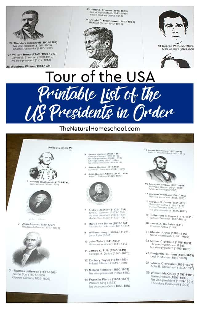 Tour of the USA ~ Printable List of the US Presidents in