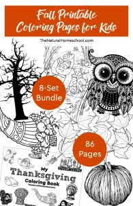 Fall Printable Coloring Pages for Kids ~ 8-Set Bundle