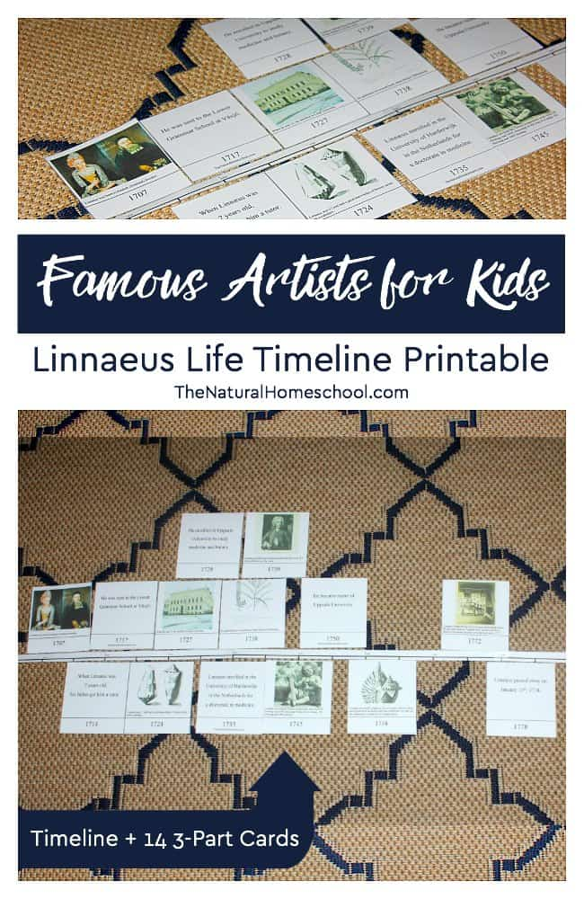 Here is another post in our Famous Artists for Kids series! This time, we will be looking into Linnaeus Life Timeline. We will have some awesome printable 3-part cards to help us with the process of learning about him and his life accomplishments. I hope they help you as much as they helped us.