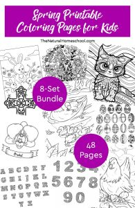 Spring Printable Coloring Pages for Kids ~ 8-Set Bundle
