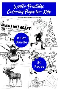 Winter Printable Coloring Pages for Kids ~ 8-Set Bundle