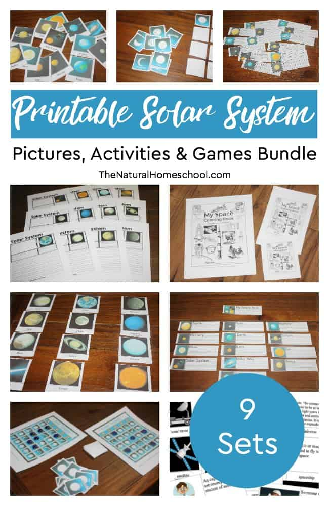 Oh, boy! Here it is! Our printable Solar System Pictures, Activities & Games Bundle is here! You and your kids will love it! It comes with 9 fun-filled and very educational printables activities to learn so much about the Solar System!