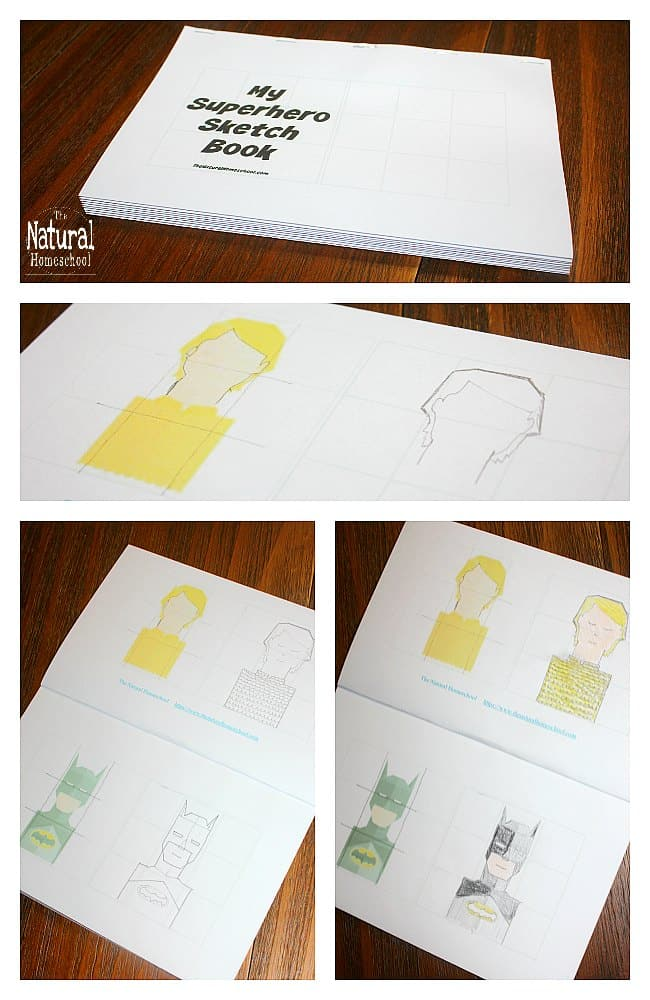In this post, I decided to make our very own printable superhero books! It will be part of a series that I have been plotting and scheming about. This one in particular is the Superhero sketch book edition!