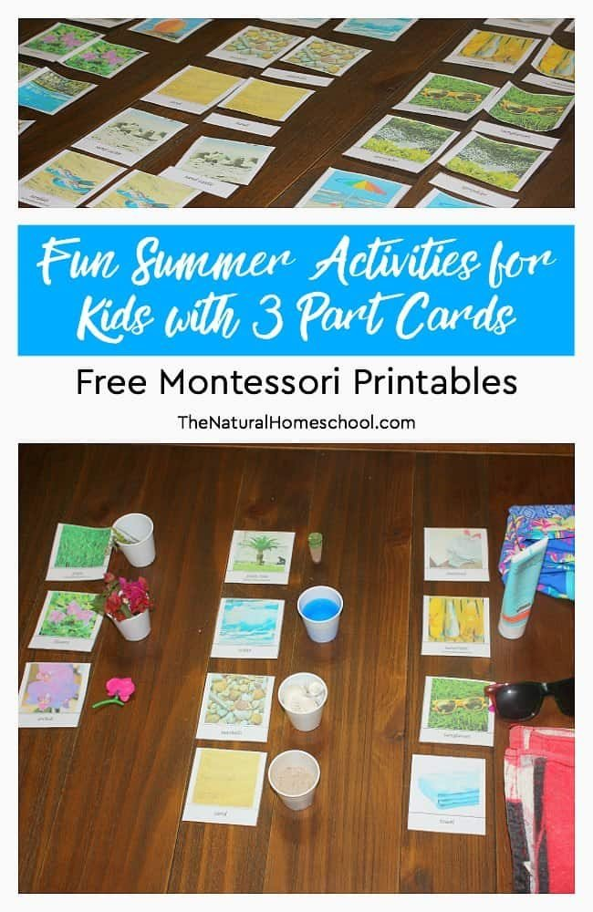 We love Summer! Here are some really fun Summer activities for kids with 3 Part Cards! You can get these awesome free Montessori printables to introduce your kids to summer words. But we go a step beyond that with a fun game. See? Montessori is for everyone!