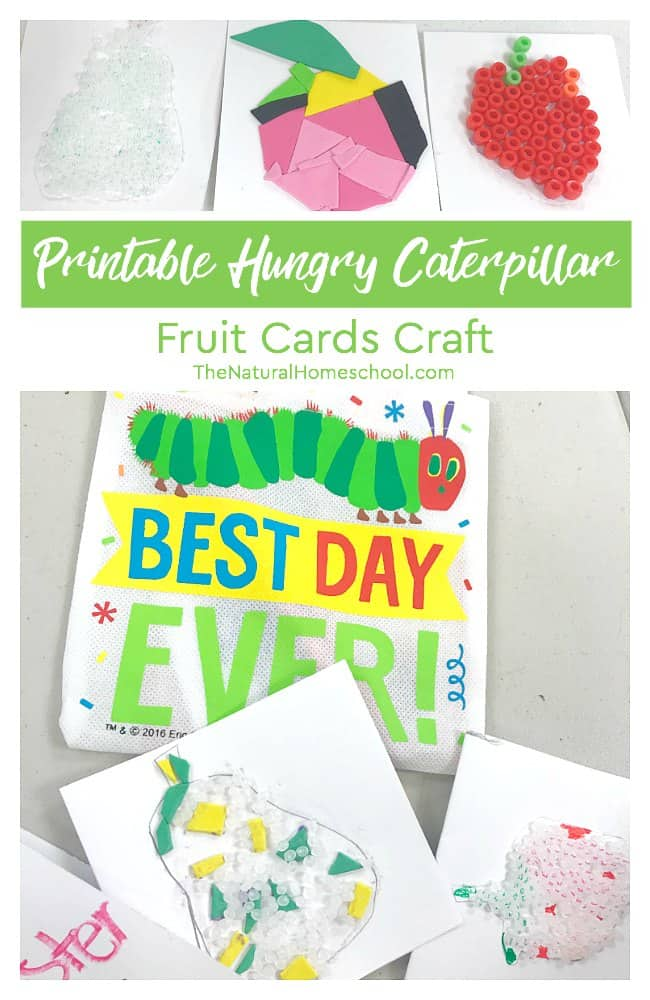 We love Eric Carle and The Very Hungry Caterpillar printables that we are sharing lately! In this post, we made beautiful cards using different materials. These cards were made with printable hungry caterpillar fruit shapes! They all turned out amazing!