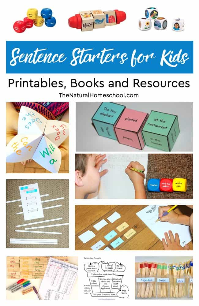 Do you have reluctant writers at home? Do you find that they are dry with ideas and need a little help with brainstorming on writing topics? Take a look at these lists of sentence starters for kids! We have printables, books and hands-on resources!
