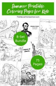 Summer Printable Coloring Pages for Kids ~ 8-Set Bundle