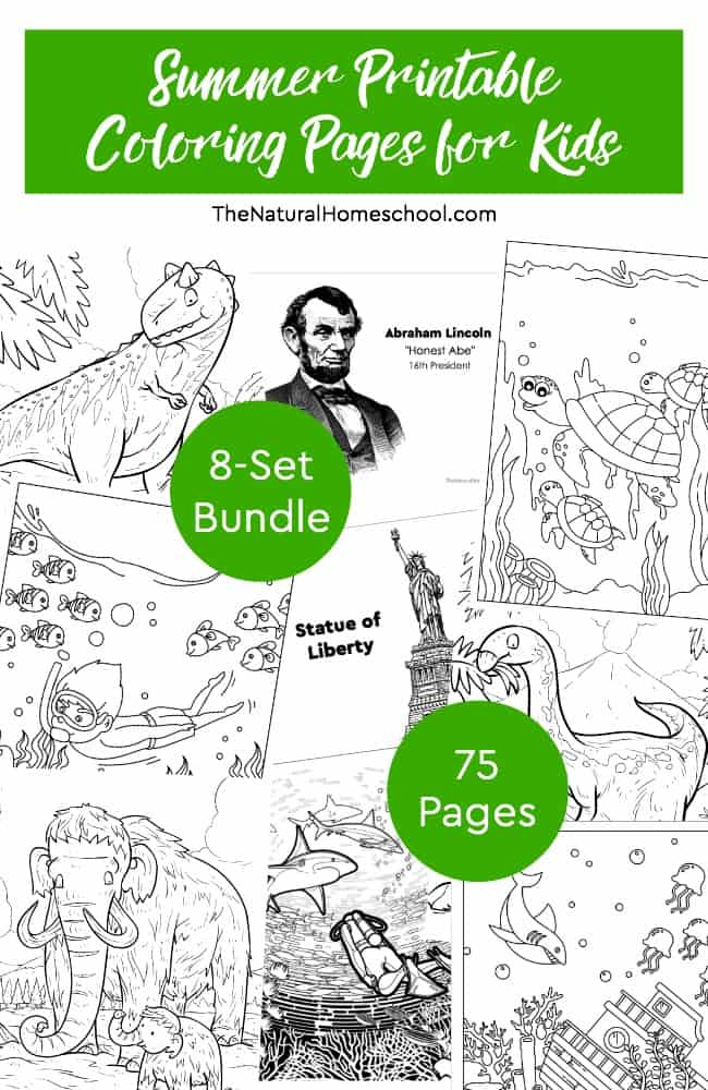 This is a fantastic bundle of Summer printable coloring pages for kids! They won't be bored with these! If you take Summer off from homeschooling, then this is the bundle for you!