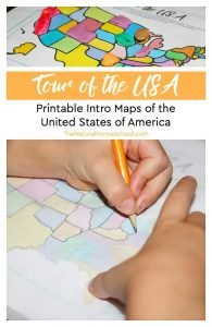 Tour of the USA ~ Printable Intro Maps of the United States of America