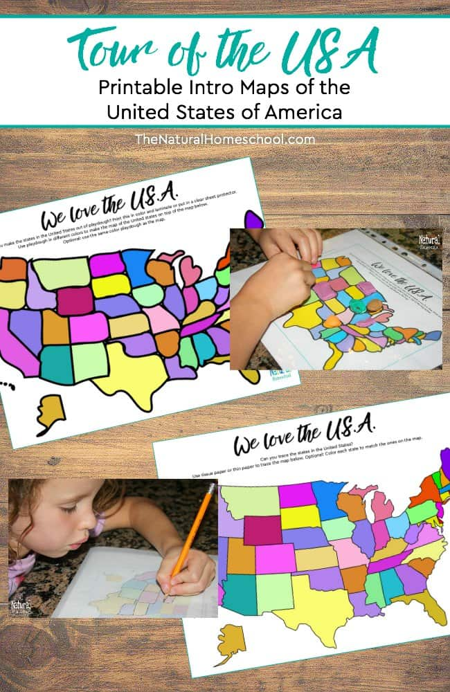 It is exciting to give kids a Tour of the USA! This set has a printable Introductory set of Maps of the United States of America. Kids will have a lot of fun with these and they will be learning at the same time!