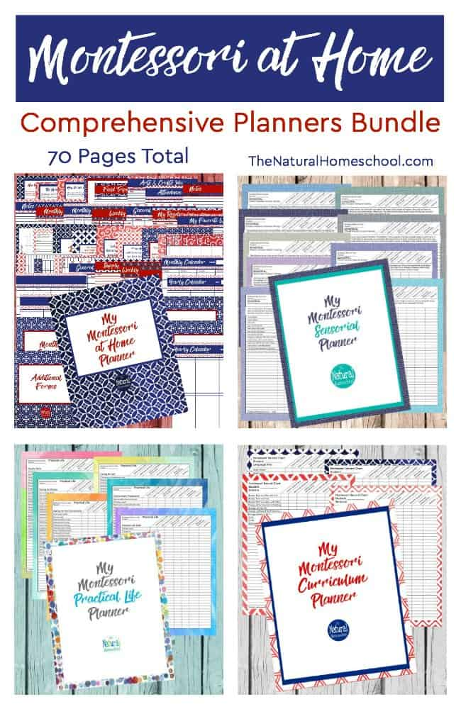 This lovely 4-planner bundle includes the complete Montessori at Home Planner (48 pages), the Montessori Curriculum Planner (5 pages), the Montessori Practical Life Planner (5 pages) and the Montessori Sensorial Planner (10 pages). It has 70 page altogether!