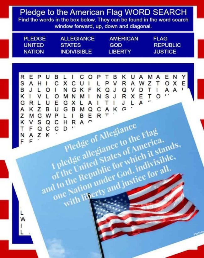"In this post, we will share with you some ideas that we've implemented in our homeschool and tell you more about this awesome ""I pledge Allegiance to the Flag"" printable bundle to bring together a wonderful unit."