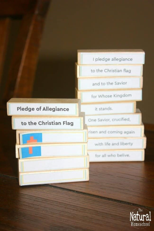 "In no time, your kids will be saying, ""I pledge allegiance to the flag"" with 7 really fun activities that will help them learn the Christian pledge allegiance to the flag from memory!"