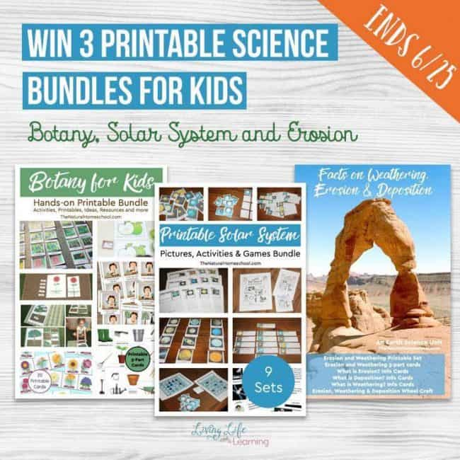 Win this fun hands-on science bundle from The Natural Homeschool! There is a Botany, a Solar System and an Erosion, Weathering and deposition bundle!