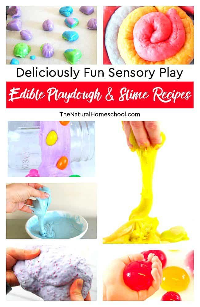 Are you ready for some fun hands-on activities? In this post, we share an awesome list of Sensory Play with edible recipes for playdough and slime. Go down the list, pick your favorites and be ready for some fun!