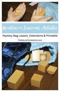 Montessori Sensorial Activities ~ Mystery Bag Lesson, Extensions & Printable