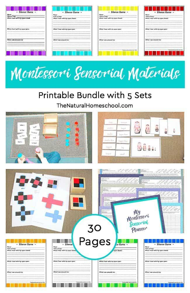 Here, we have a wonderful 30-page Montessori Sensorial Materials Printable Bundle with a set of 5 awesome Sensorial activities! Come and take a look!