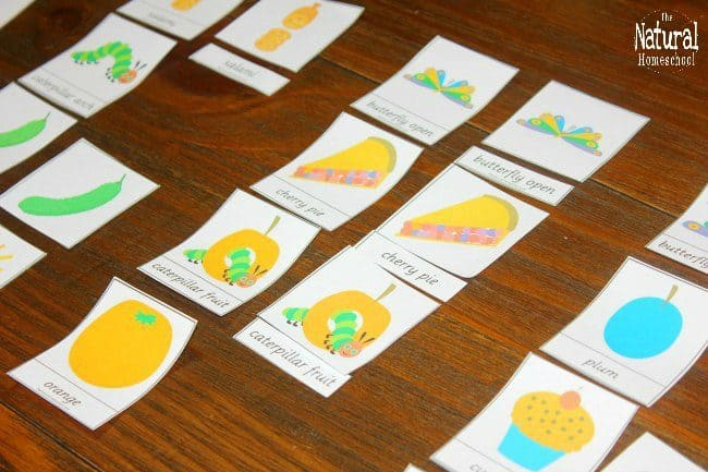 We are excited to have this awesome free printable hungry caterpillar set of 3-part cards!