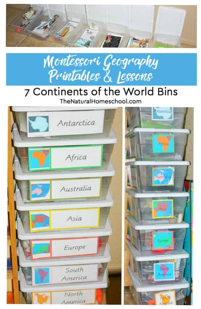 "If you have been looking for ways to teach about the seven continents of the world to your kids, then check out these Montessori Geography printables and lessons. It is a complete look at our fantastic ""7 continents of the world"" bins."
