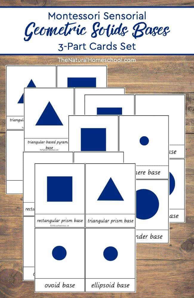 To go to the next level, I made some printable Geometric Solids Bases 3-Part Cards to use as an Extension. These free Montessori printables can be downloaded in this post.