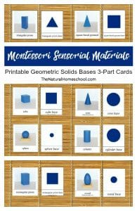 Montessori Sensorial Materials ~ Printable Geometric Solids Bases 3-Part Cards