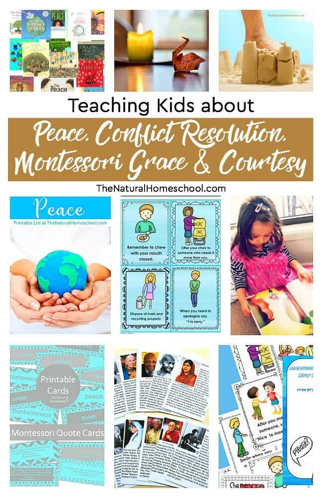 In this post, we will be talking about teaching kids peace, conflict resolution, Montessori grace and courtesy. These are very important qualities to instill in your children since the time they are young.