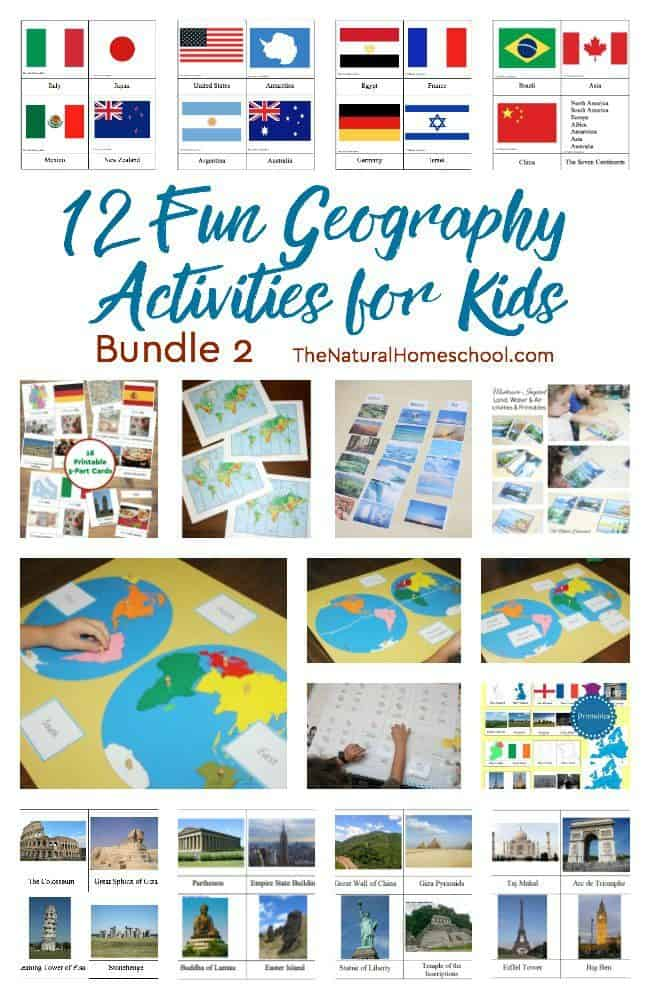 With this set of activities, kids will be learning about and reviewing the 7 continents of the world, recognize country flags of the world, sort land, water and air on our planet and so much more! These 12 Geography Activities for Kids (bundle 2) is awesome!