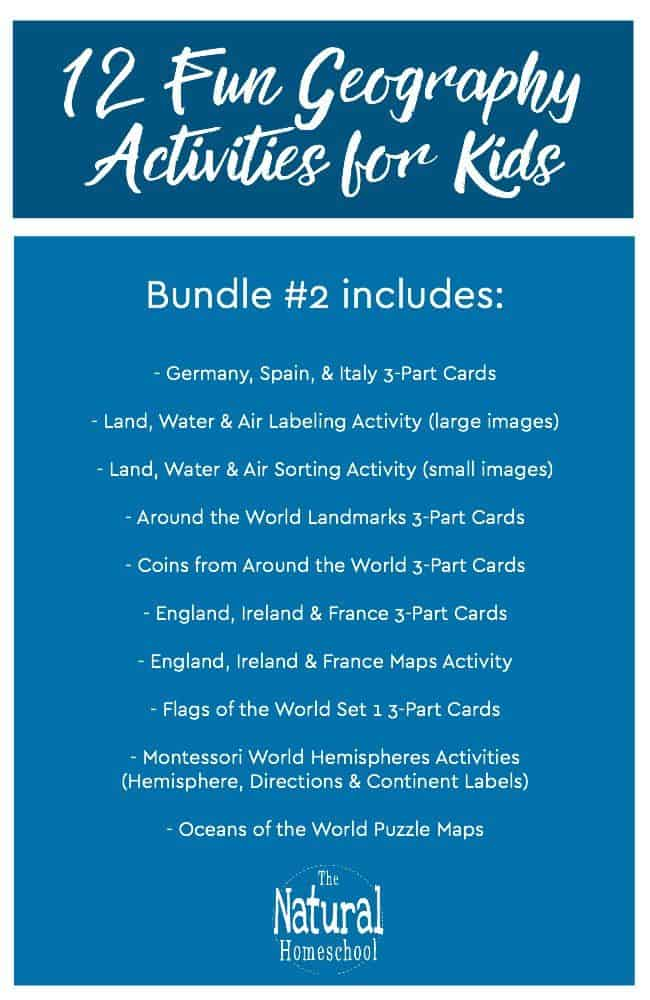Come and take a look at these 12 Geography Activities for Kids. This is Bundle #2! It's more complete and more fun than ever!