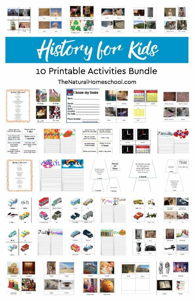 After a great streak of amazing and fun History lessons, we have put together 10 awesome printable activities of History for kids with a BONUS!